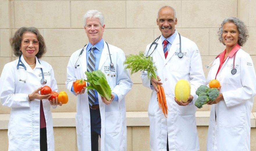 doctors with veggies