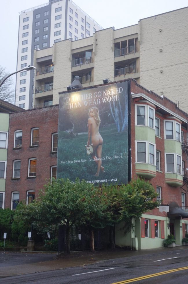 Nude Alicia Silverstone Appears in Portland for Vegan Anti Wool Campaign