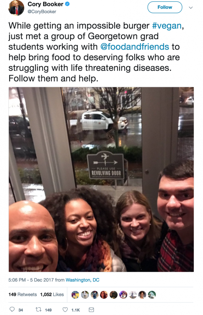 Good Things Happen When Vegan Senator Cory Booker Eats Impossible Burgers