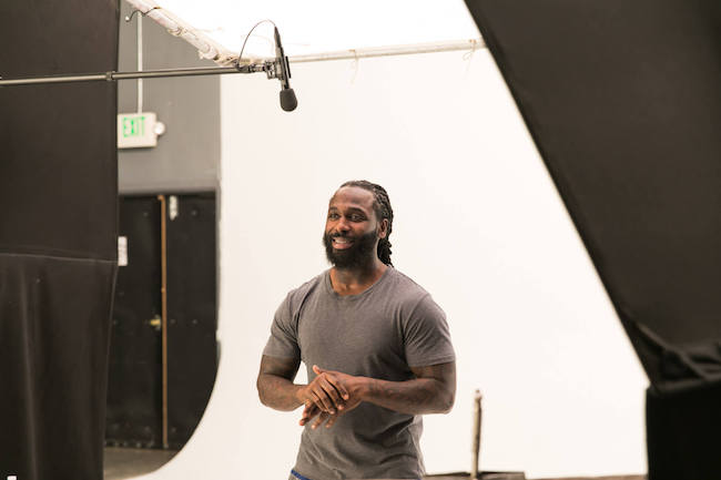 Olympic weightlifter, Kendrick Farris, on set at the Switch4Good commercial shoot_ (1)