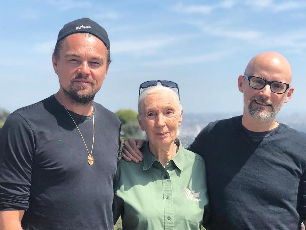 Environmentalists Leonardo Di Caprio, Moby, and Jane Goodall Plot to Save the Planet (Probably?) Over a Vegan Lunch