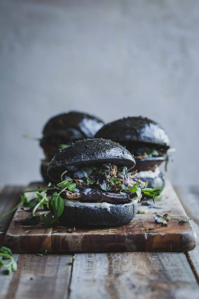 Five Spice Portobello Burger with Wasabi Sprouts