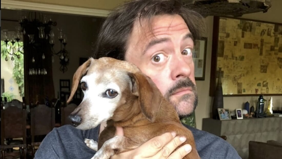 Actor Kevin Smith with Dog