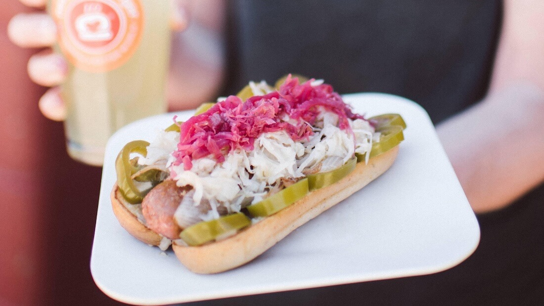 vegan sauerkraut hot dog