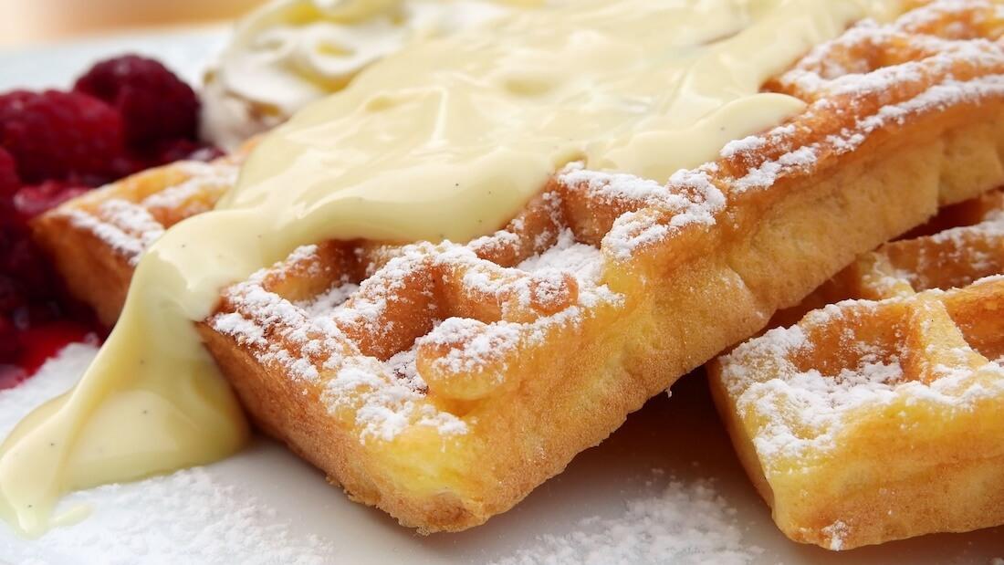 vegan waffle with sauce