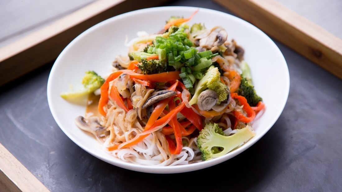 nutrient-rich noodle bowl with veggies