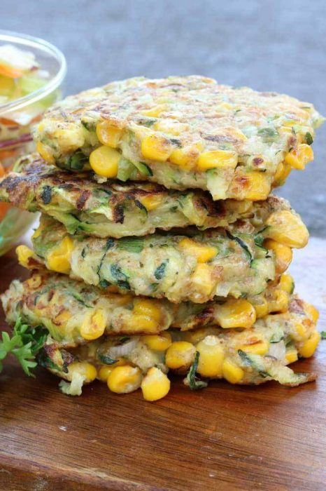 Courgette and corn fritters