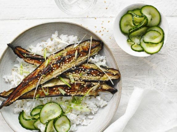 Miso grilled aubergine & cucumber pickle rice bowl