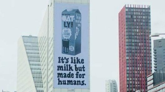 Oatly Billboards in Rotterdam and UK Reminds Consumers that Only Vegan Milk (Not Dairy) is Suitable for Humans