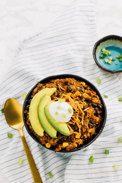 Vegan Crockpot Quinoa Black Bean Chili
