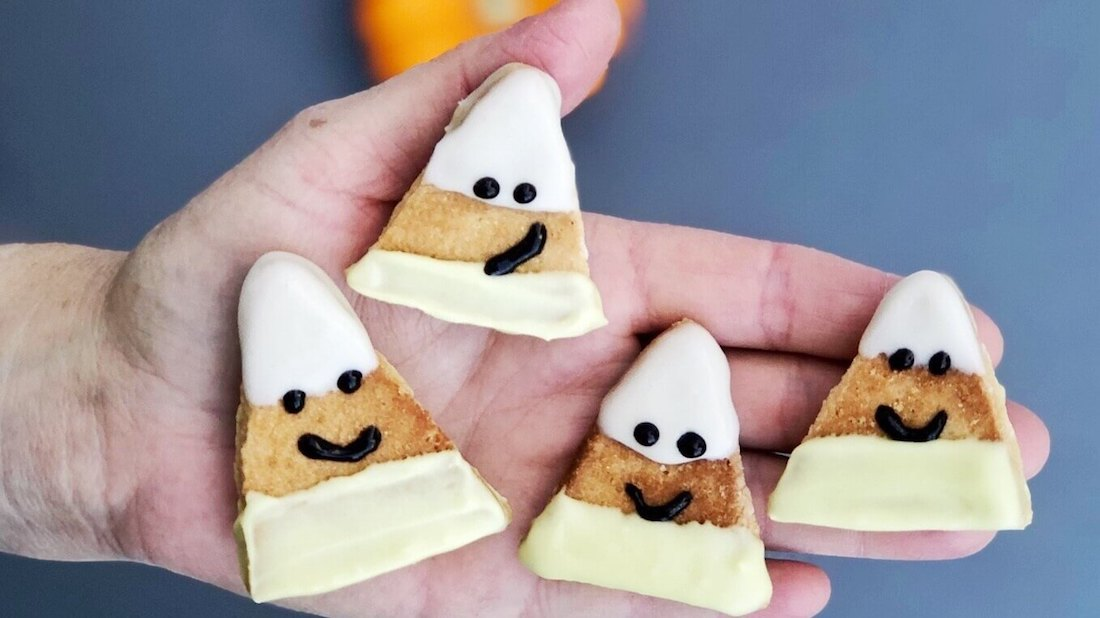 Vegan Halloween Candy Corn In Sugar Cookie Form