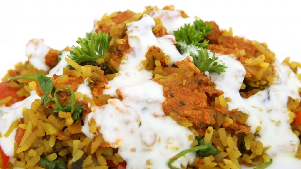 Authentic Vegan Middle-Eastern Vegan Millet and Nut Pilaf With Lemon, Mint, and Yogurt Sauce