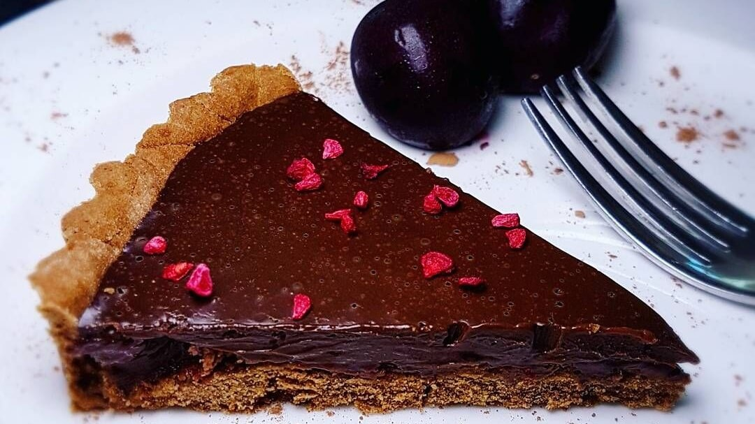 Dairy-Free Dark Chocolate Vegan Cherry Tart With a Perfectly Crisp Crust