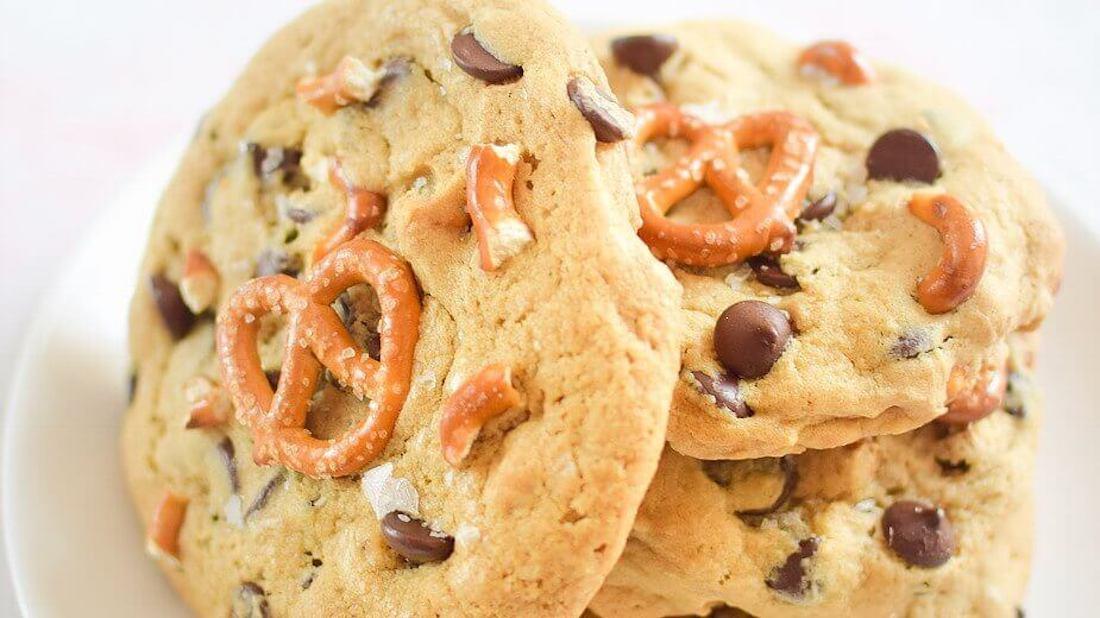 Gooey and Sweet Vegan Sea Salt Pretzel Chocolate Chip Cookies