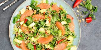 Vegan Avocado Grapefruit Salad With Miso Ginger Dressing and Roasted Pistachios