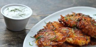 Vegan Butternut-Potato Cakes With Dairy-Free Lemon and Dill Yogurt Dipping Sauce