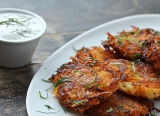 Vegan Butternut-Potato Cakes With Dairy-Free Lemon and Dill Yogurt Dipping Sauce