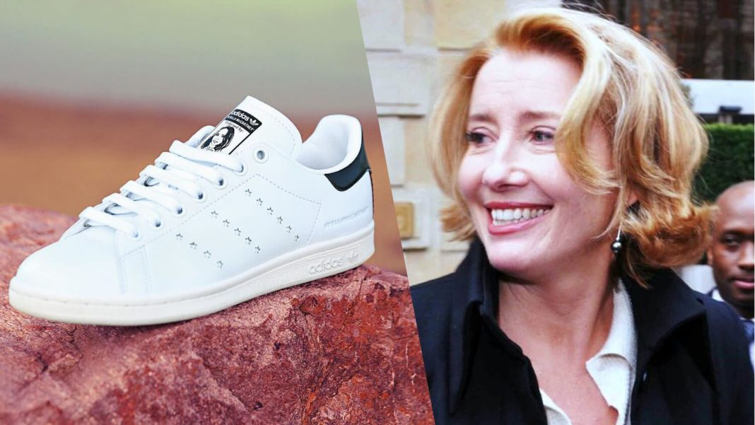 Emma Thompson Wears Vegan Stella McCartney x Stan Smith Sneakers During Her Damehood at Buckingham Palace