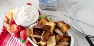 Festive Vegan French Toast With Dairy-Free and Egg-Free Holiday Nog Fondue Recipe