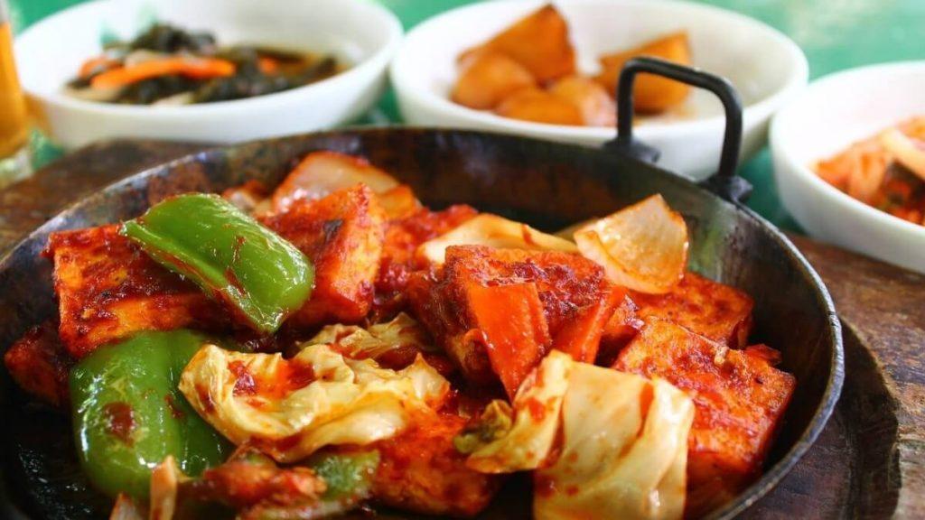 Spicy Tofu and Meaty Mushroom Vegan Korean BBQ Stir-Fry