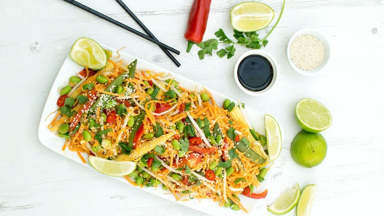 Low-Carb Vegan Asian Edamame and Sweet Potato Noodles With Satay Sauce