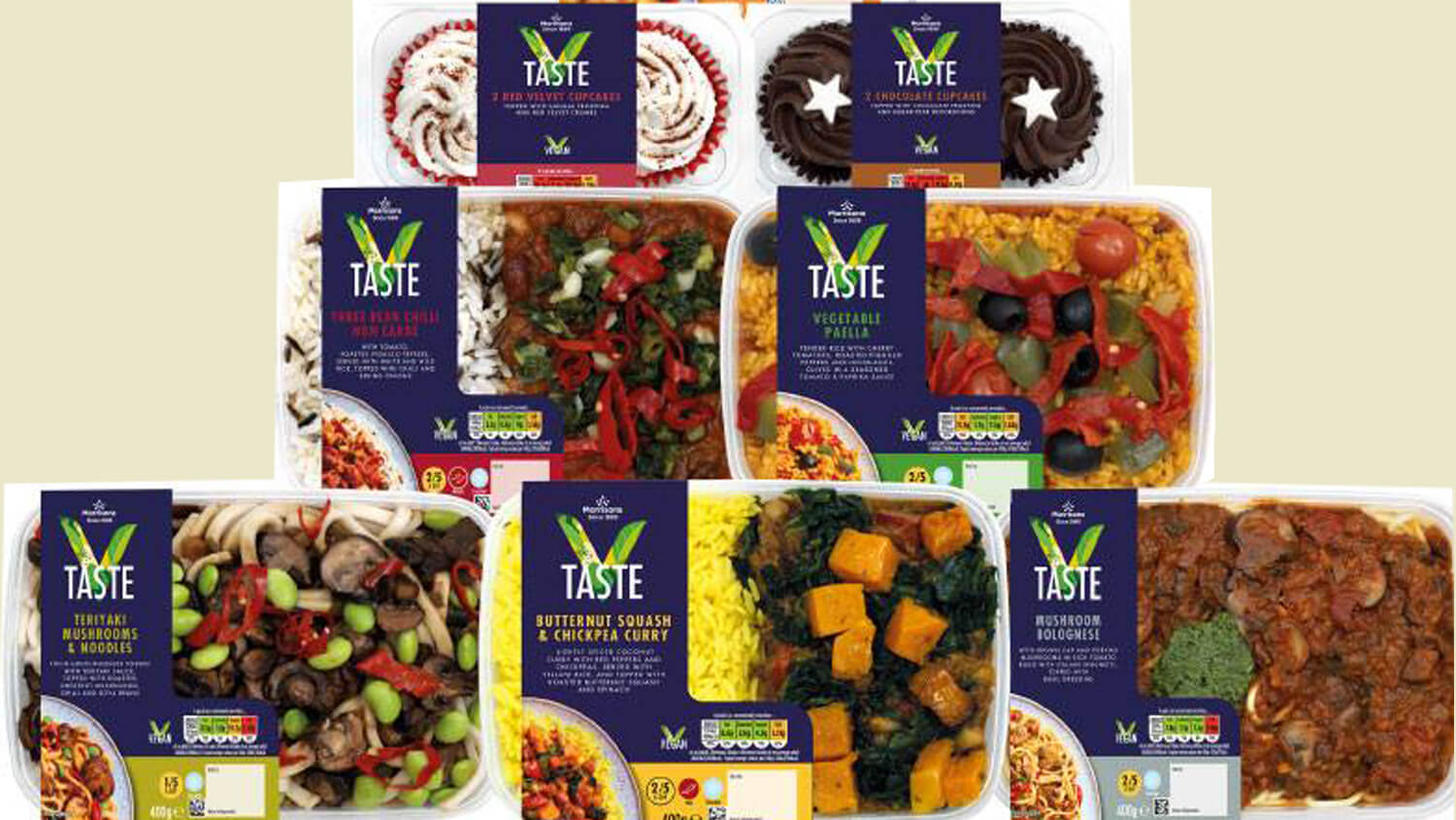 Morrisons Launches V Taste, Own-Brand Vegan Ready Meal Range of Burgers, Curries, and Cupcakes