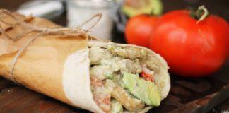 Creamy Vegan Seitan Chicken, Avocado, and Tomato Wrap