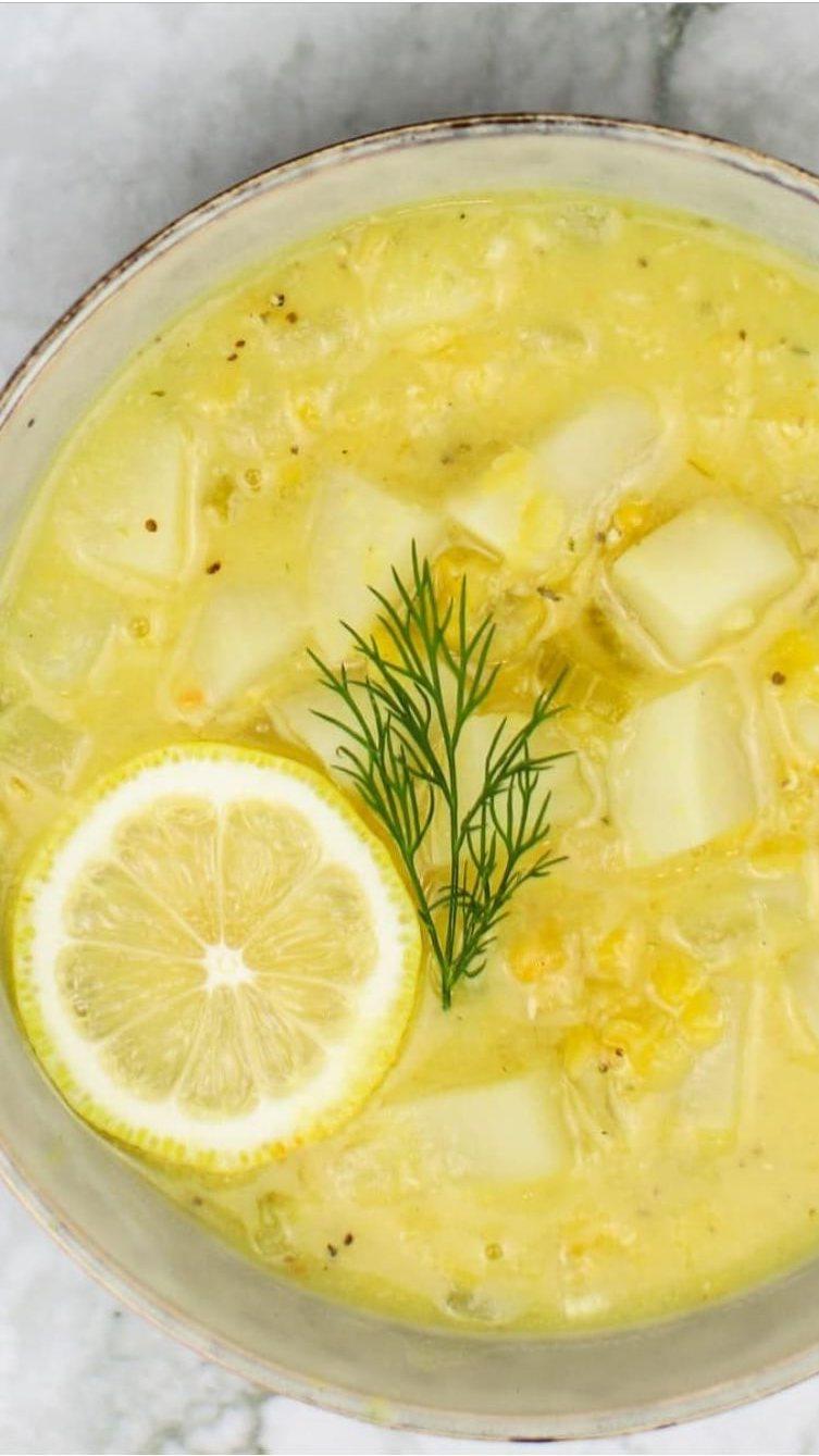 Lemony Lentil Dill Vegan Chowder