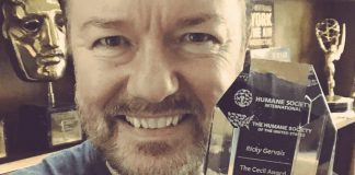 Ricky Gervais Receives Award for Standing Up Against Trophy Hunting
