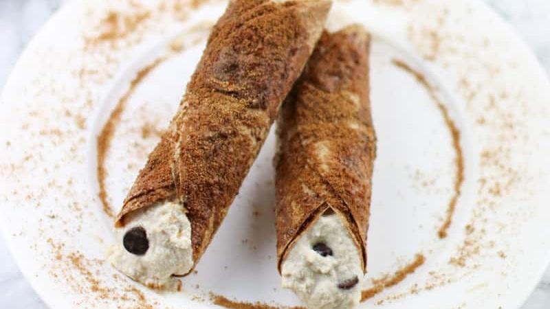Healthy Almond Ricotta and Vegan Chocolate Chip Stuffed Cannolis