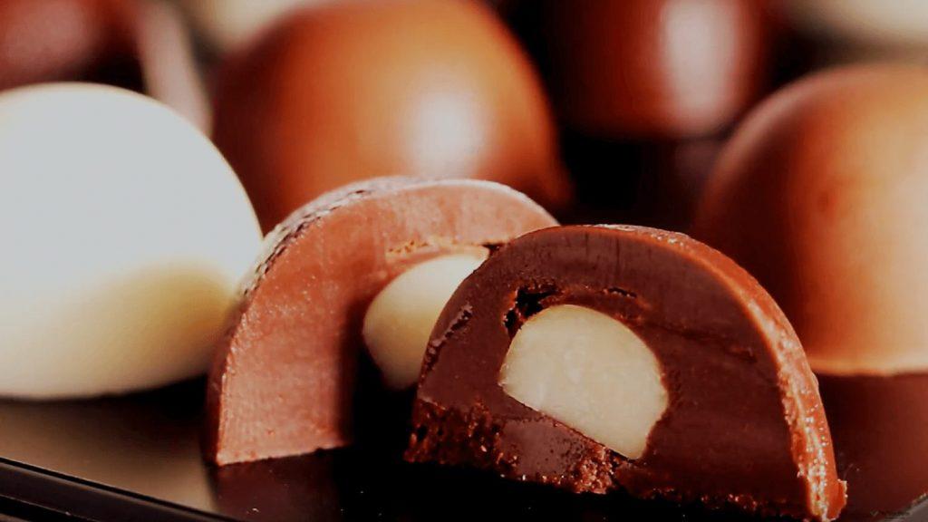 Vegan Dark Chocolate Pralines With Macadamia, Gummies, and Dried Fruit