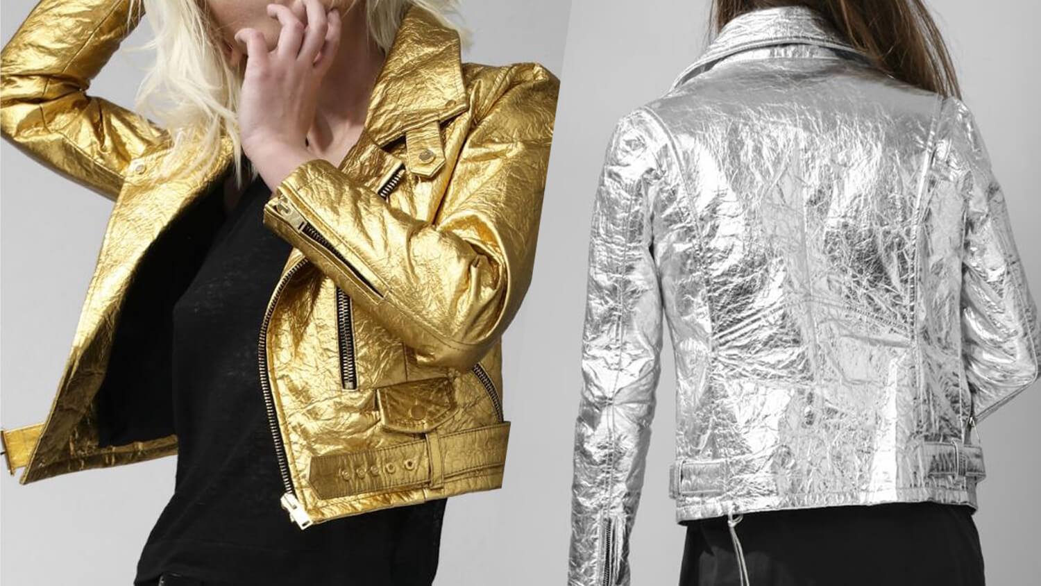 Italian Fashion Brand Altiir Launches Metallic Vegan Gold and Silver Biker Jackets Out of Pinatex Pineapple Leather