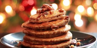 Festive Vegan Fruitcake Pancakes With Dried Fruits and Nuts