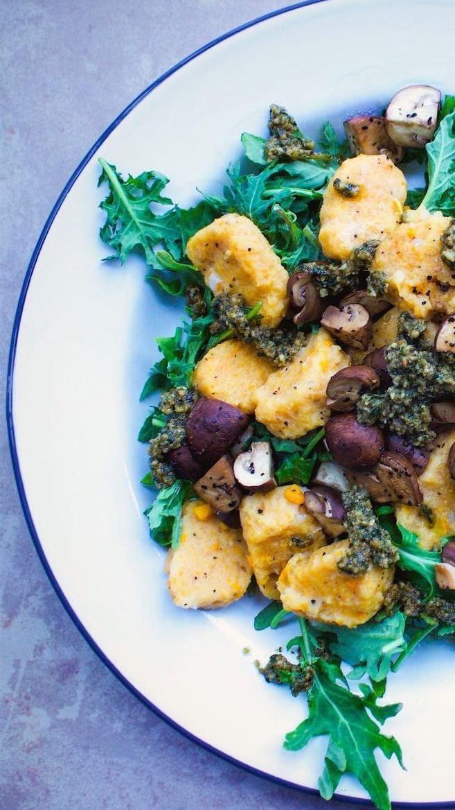 Yam Gnocchi With Basil Pesto and Balsamic Mushrooms, Vegan and Gluten-Free