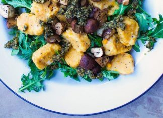 Yam Gnocchi With Basil Pesto and Balsamic Mushrooms, Vegan and Gluten-Free