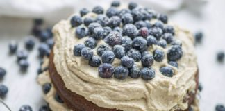 Vegan Vanilla Sponge Cake With Dairy-Free Tofu Frosting and Blueberries