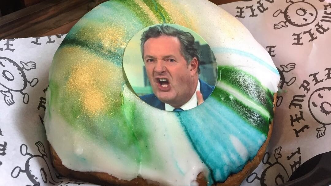 Piers Morgan Vegan Doughnuts Launch at Leeds Temple Coffee Shop