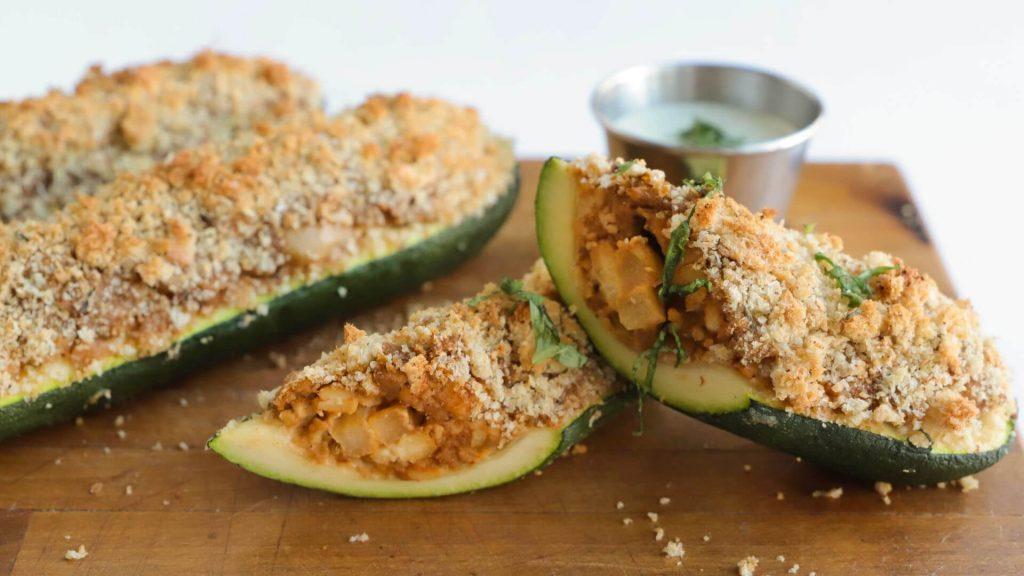 Vegan Apple Sausage-Stuffed Zucchini Boats