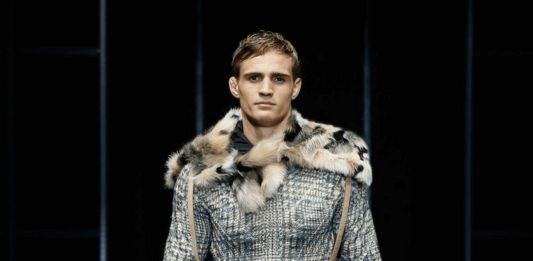 Designer Fashion Label Armani Debuts Men's Faux Fur Coat and Boots at Fall/Winter 2019-20 Fashion Show