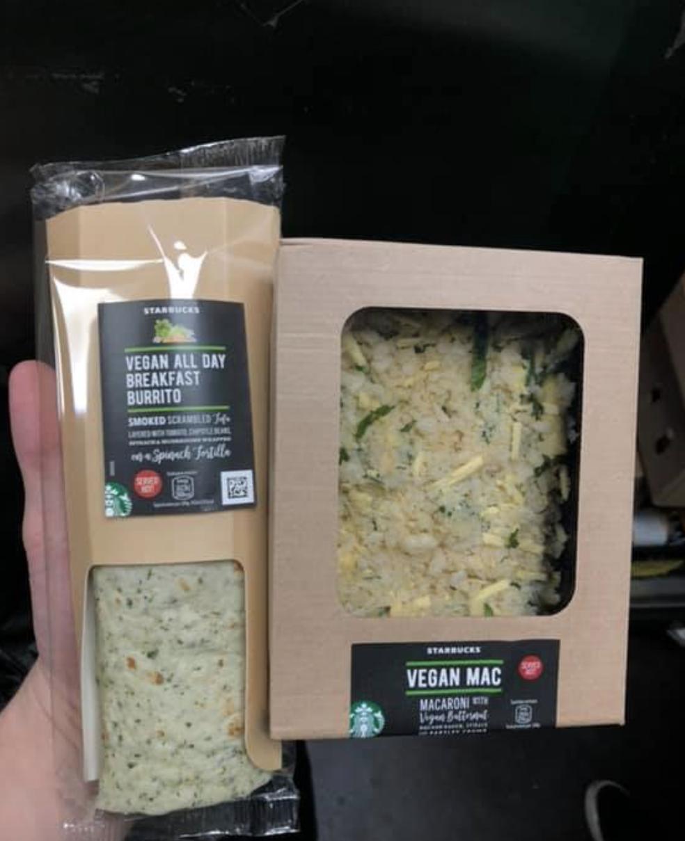 vegan starbucks burritos and mac and cheese