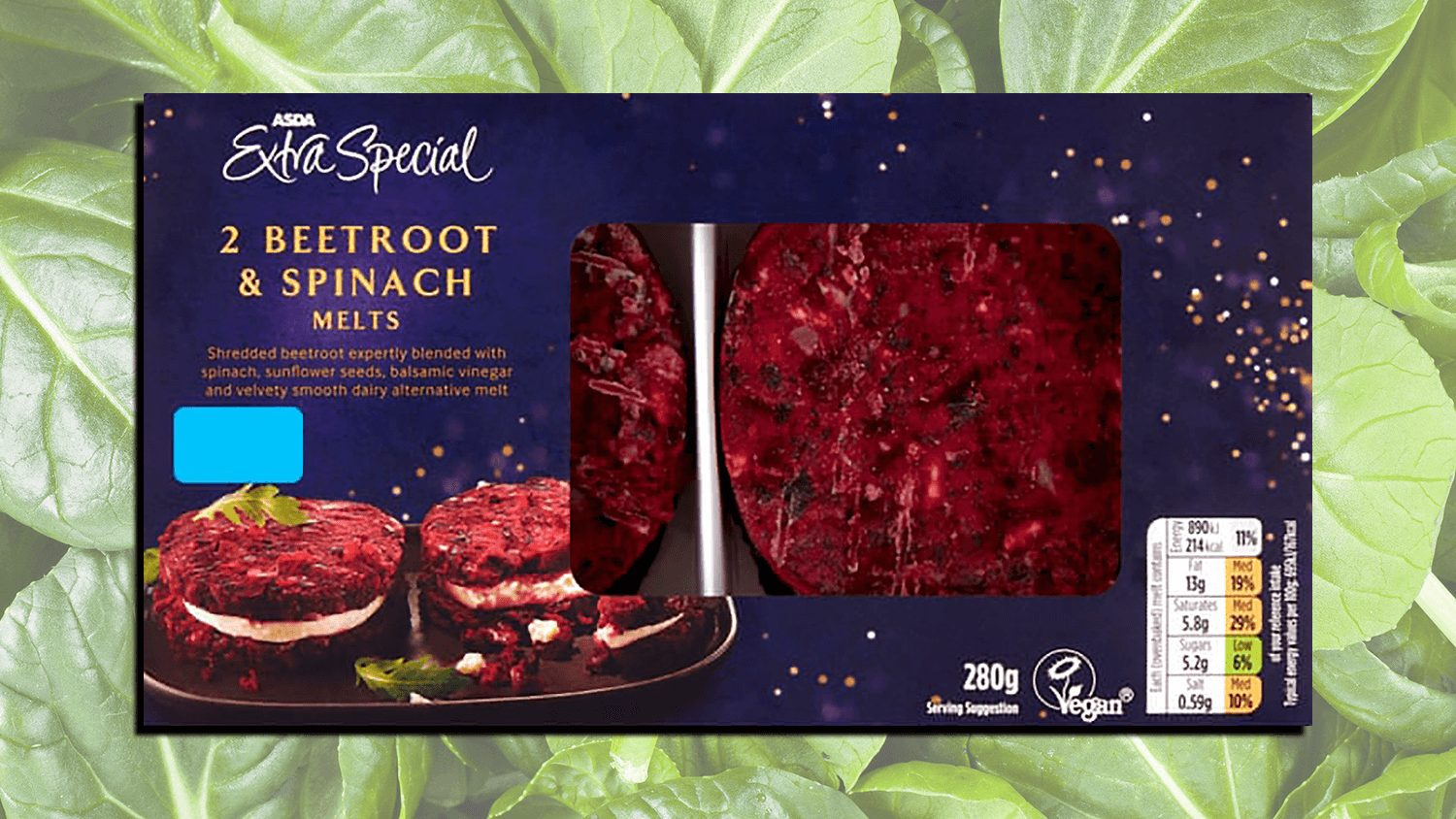 Vegan Beetroot Spinach Melts Now at ASDA