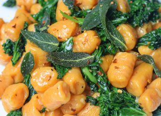 Soft Vegan Gnocchi With Sweet Potato and Wilted Kale