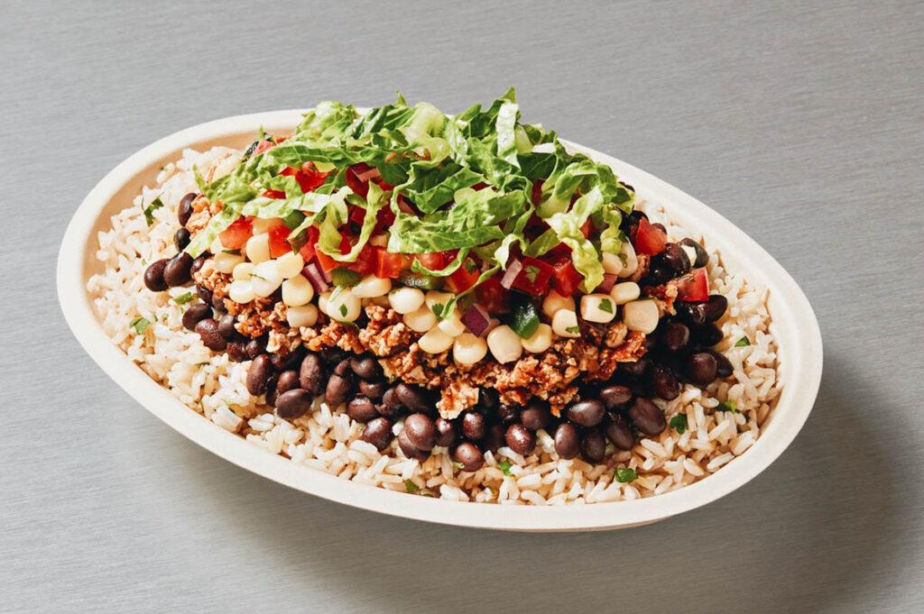 Photo of a Chipotle vegan burrito bowl.