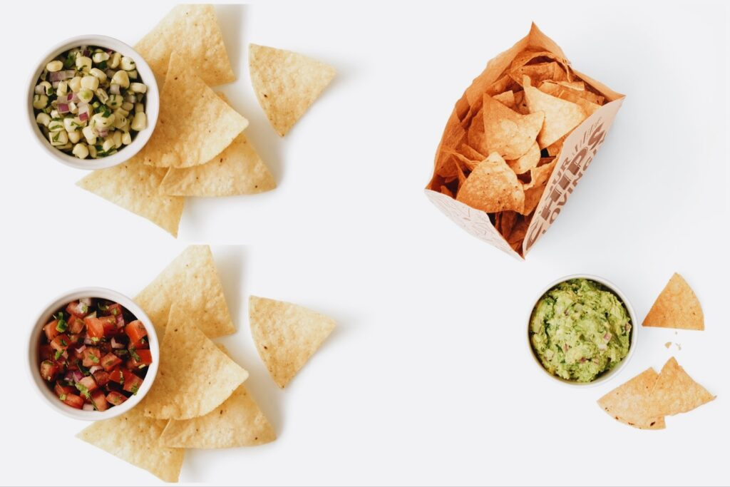Photo of Chipotle vegan chips and dips.