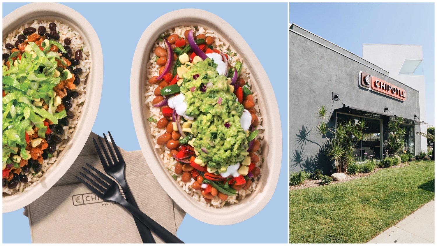 Split image of two vegan Chipotle burrito bowls on a pale blue background (left) and a Chipotle storefront (right).