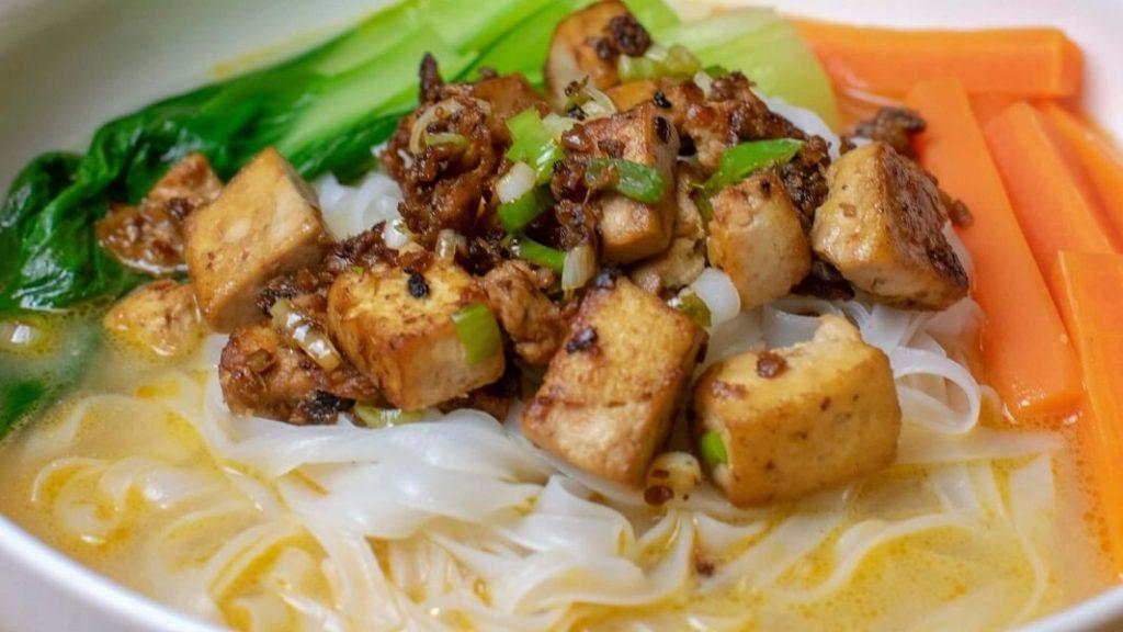 Spicy Vegan Ramen Tantan Noodles in a Creamy Sauce