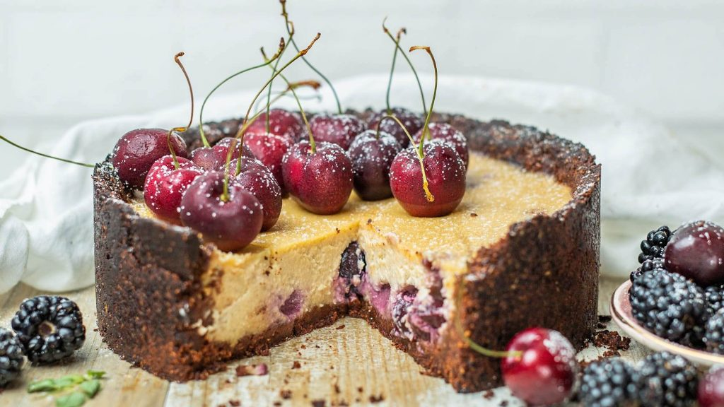 Vegan Black Forest Cheesecake With Oatmeal Crust