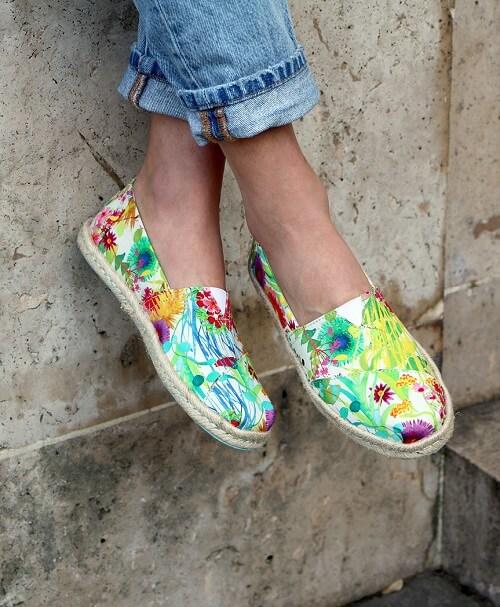Floral VEGAN Black Canvas Slip On Shoes Alpargatas