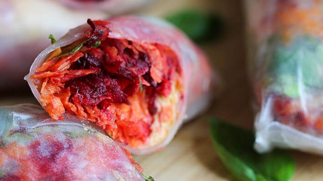 Vegan Spring Rolls With Hummus and Rainbow Slaw
