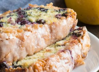 Vegan Blueberry Cake With a Tart Lemon Glaze